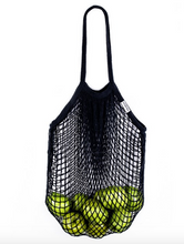 Load image into Gallery viewer, Black reusable mesh cotton tote
