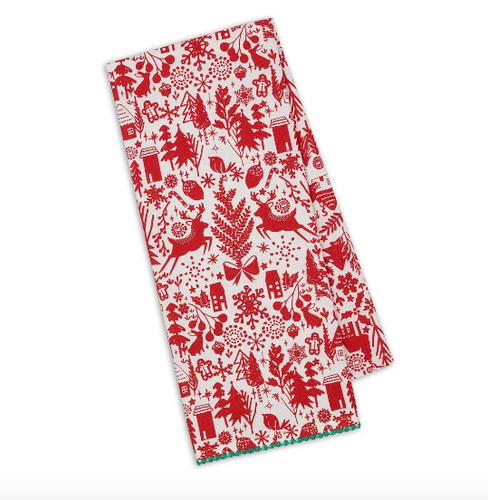 Holiday woods dishtowel
