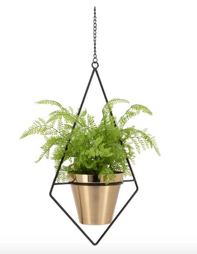 Brush Gold Metal hanging pot