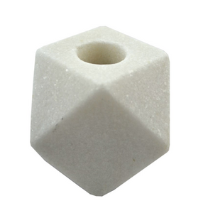 White marble geometric candle holder