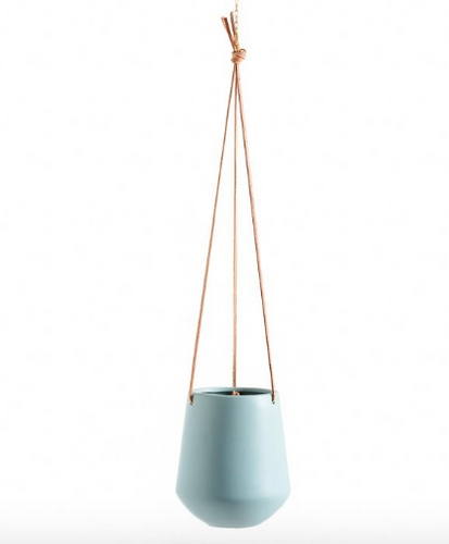 Teal L ceramic hanging planter