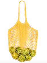 Load image into Gallery viewer, Yellow cotton mesh shopping tote