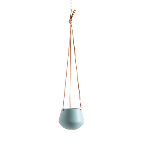 Teal hanging pot