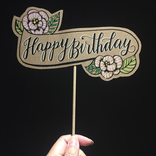 Floral Happy Birthday posecard