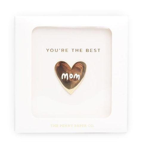 Mom gold enamel pin
