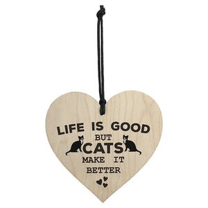 Wooden Hanging Heart Plaque Cat Lovers Pet Sign