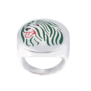 Tibetan Terrier Lovers enamel ring with color selection