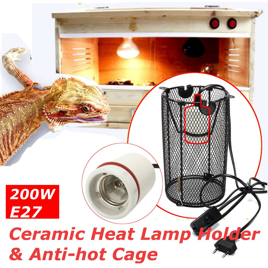 Ceramic Heat Lamp Holder + Light Switch Cage for Reptiles or Chicken Brooder