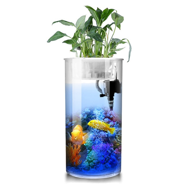 Cylindrical Fish  Aquarium Small and Medium; Water-free Filter