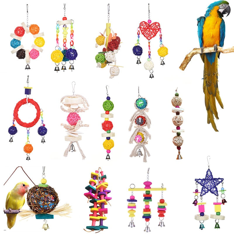 10Styles Toy Wood Birds Perch With Toy Bead