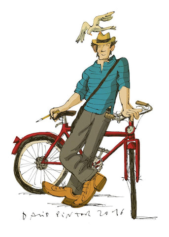David Pintor self drawing with a bycicle