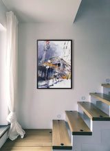 Load image into Gallery viewer, A yellow train going out from the station by Felix Scheinberger.  Print without margin framed in black wood