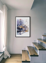 Load image into Gallery viewer, A yellow train going out from the station by Felix Scheinberger.  Print with margin framed in black wood