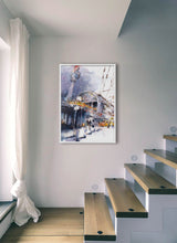 Load image into Gallery viewer, A yellow train going out from the station by Felix Scheinberger.  Print without margin framed in white wood