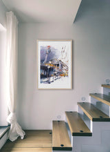 Load image into Gallery viewer, A yellow train going out from the station by Felix Scheinberger.  Print with margin framed in natural wood