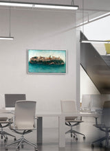 Load image into Gallery viewer, The Alhambra as an island surrounded by water by Carlos Arriaga.  Print on Dibond under Acrylic, framed in white wood