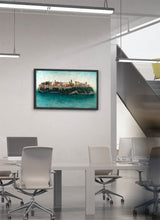 Load image into Gallery viewer, The Alhambra as an island surrounded by water by Carlos Arriaga.  Print on Dibond under Acrylic, framed in black wood