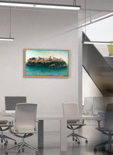 Load image into Gallery viewer, The Alhambra as an island surrounded by water by Carlos Arriaga.  Print on Dibond under Acrylic, framed in natural wood