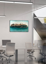 Load image into Gallery viewer, The Alhambra as an island surrounded by water by Carlos Arriaga.  Print on Dibond under Acrylic, framed in black aluminium