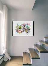 Load image into Gallery viewer, An old church and a club in a poster by Inma Serrano.  Print with margin framed in black wood