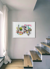 Load image into Gallery viewer, An old church and a club in a poster by Inma Serrano.  Print with margin framed in white wood