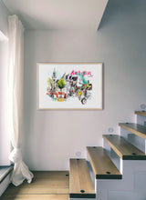 Load image into Gallery viewer, An old church and a club in a poster by Inma Serrano.  Print with margin framed in natural wood