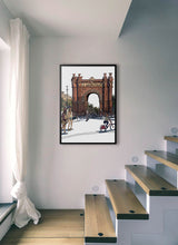 Load image into Gallery viewer, People skating under Arc de Triomf  by Mariscal.  Print without margin framed in black wood