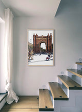 Load image into Gallery viewer, People skating under Arc de Triomf  by Mariscal.  Print without margin framed in natural wood