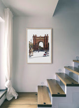 Load image into Gallery viewer, People skating under Arc de Triomf  by Mariscal.  Print with margin framed in natural wood