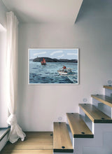 Load image into Gallery viewer, Boat navigating with lighthouse in background by Mariscal.  Print without margin framed in white wood