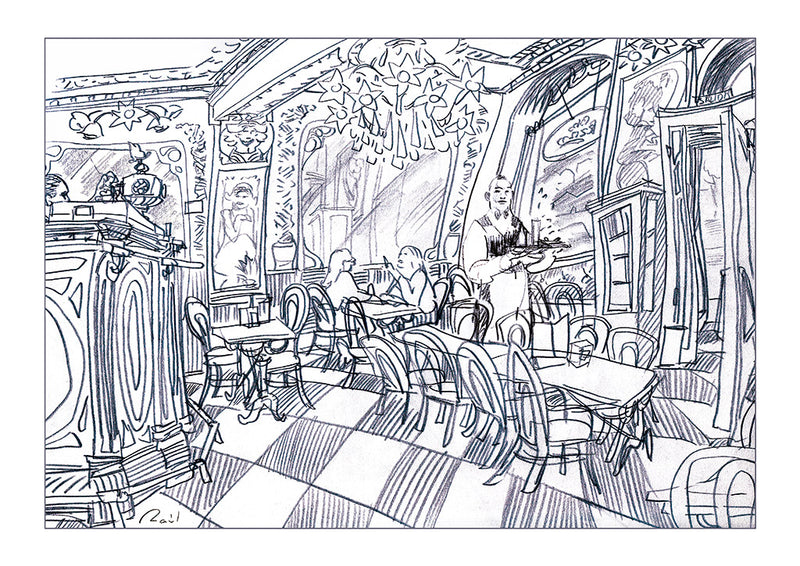 Sketch of a waiter in the interior of the nouveau cafe by Raul.  Main image