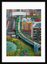 Load image into Gallery viewer, A mixed of activities in a green city painting by Clara Leon. L Print with margin framed in black wood