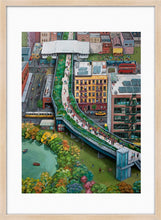 Load image into Gallery viewer, A mixed of activities in a green city painting by Clara Leon. L Print with margin framed in natural wood