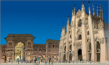 People walking around Milan Cathedral
