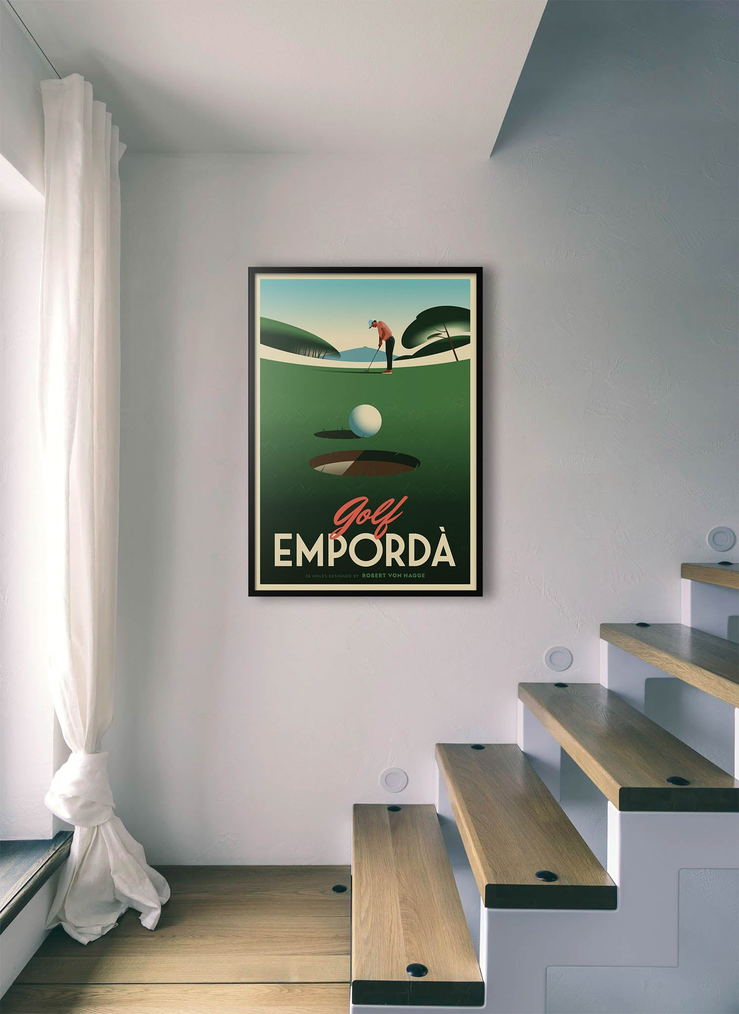 A golf ball in a hole after putting by Ricard Jorge.  Print without margin framed in black wood
