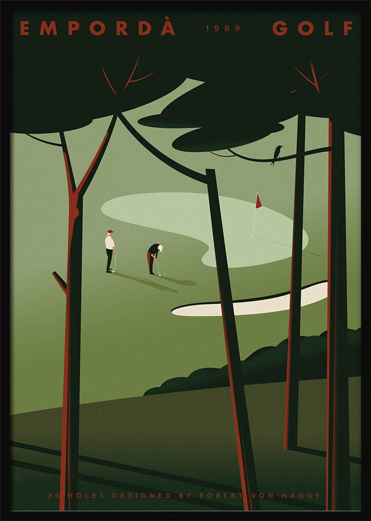 Two golf players viewed through a pinewood by Ricard Jorge. XXL Print without margin framed in black wood