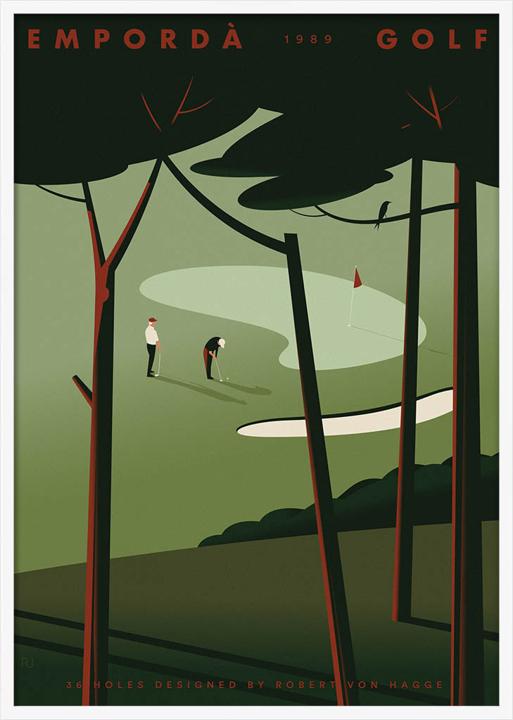 Two golf players viewed through a pinewood by Ricard Jorge. XXL Print without margin framed in white wood