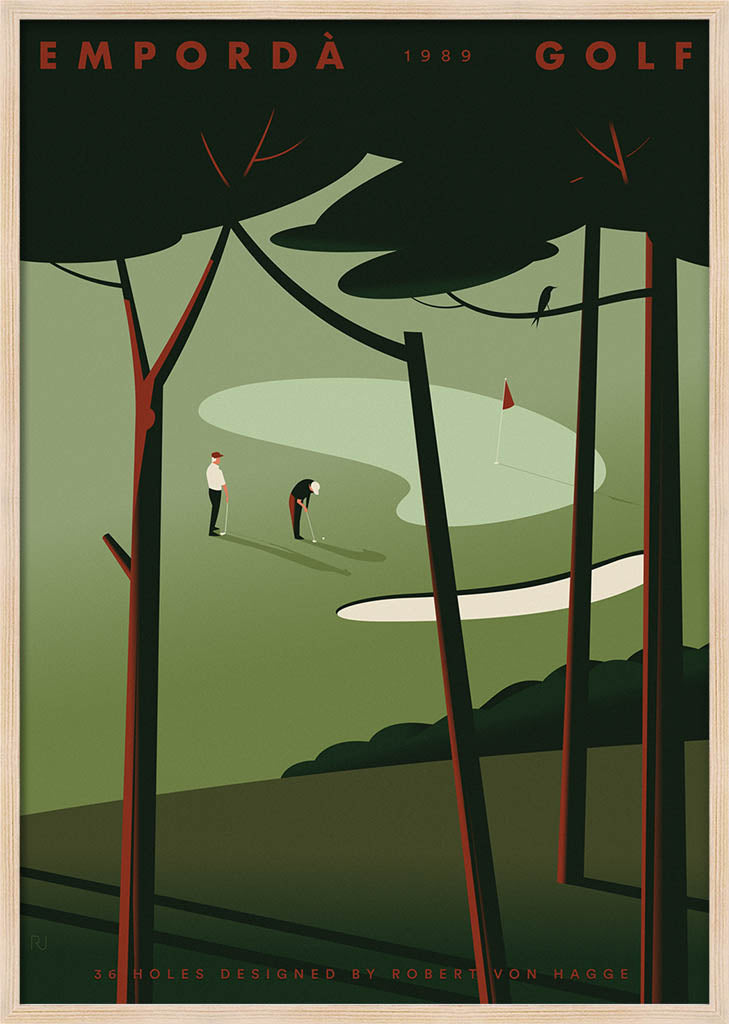 Two golf players viewed through a pinewood by Ricard Jorge. XXL Print without margin framed in natural wood