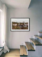 Load image into Gallery viewer, A view of the royal palace from the station by Carlos Arriaga.  Print with margin framed in black wood