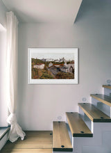 Load image into Gallery viewer, A view of the royal palace from the station by Carlos Arriaga.  Print with margin framed in white wood