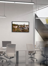 Load image into Gallery viewer, A view of the royal palace from the station by Carlos Arriaga.  Print on Dibond under Acrylic, framed in black wood
