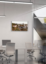 Load image into Gallery viewer, A view of the royal palace from the station by Carlos Arriaga.  Print on Dibond under Acrylic, framed in white wood