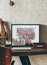 Load image into Gallery viewer, The rooftops viewed from the window by Inma Serrano.  Print with margin framed in black wood