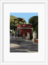 Load image into Gallery viewer, Scene of people around a street bar by Mariscal. S Print with margin framed in white wood