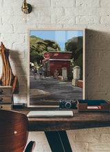 Load image into Gallery viewer, Scene of people around a street bar by Mariscal.  Print without margin framed in natural wood