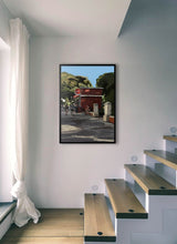 Load image into Gallery viewer, Scene of people around a street bar by Mariscal.  Print without margin framed in black wood