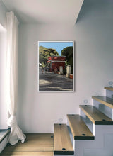 Load image into Gallery viewer, Scene of people around a street bar by Mariscal.  Print without margin framed in white wood