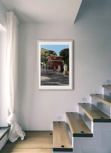 Load image into Gallery viewer, Scene of people around a street bar by Mariscal.  Print with margin framed in natural wood