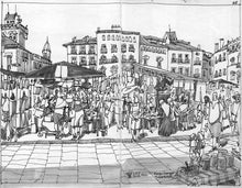 Load image into Gallery viewer, Street market drawing by Miguel Herranz.  Main image