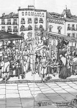 Load image into Gallery viewer, Street market drawing by Miguel Herranz.  Detail